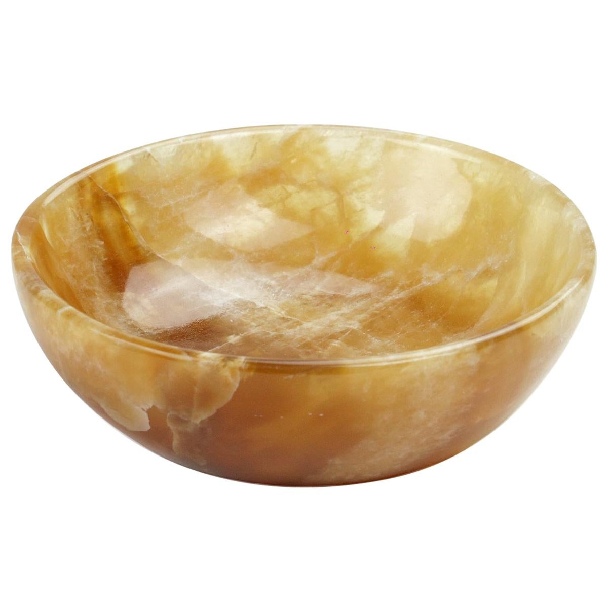 Handmade Small Round Bowl in Amber Onyx Contemporary Design by Pieruga, Italy