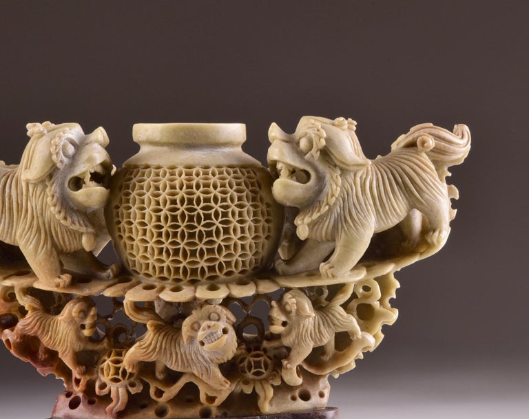 Chinese Handmade Soapstone Vase or Candlestick with Foo Dog or Lion Sculptures For Sale
