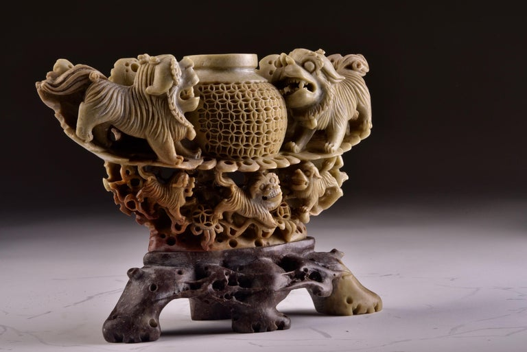 Handmade Soapstone Vase or Candlestick with Foo Dog or Lion Sculptures For Sale 2