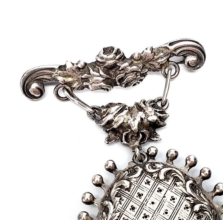 Women's Handmade Sterling Silver Hanging Locket Pin / Brooch For Sale