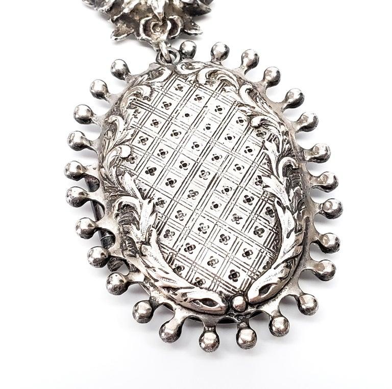 Handmade Sterling Silver Hanging Locket Pin / Brooch For Sale 1