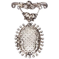 Handmade Sterling Silver Hanging Locket Pin / Brooch