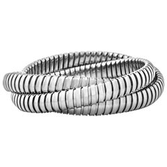 Handmade Sterling Silver Three-Strand Tubogas Rolling Bangle Bracelet