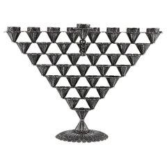 Handmade Sterling Silver Yemenite Menorah for Hanukkah Made in Israel