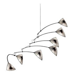 Handmade Stone Pleated Silk Grace Kinetic Mobile Light