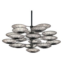 Handmade Stone Pleated Silk Sunsa 21 Chandelier