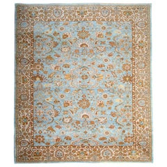 Handmade Sultanabad Ziegler Style Rug, Blue and Cream Wool Rug