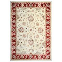 Handmade Sultanabad Ziegler Style Rug, Cream and Red Wool Rug