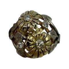Handmade Summertime Flower Mixed 18 Karat Gold & Diamond Autumn Art Nouveau Ring