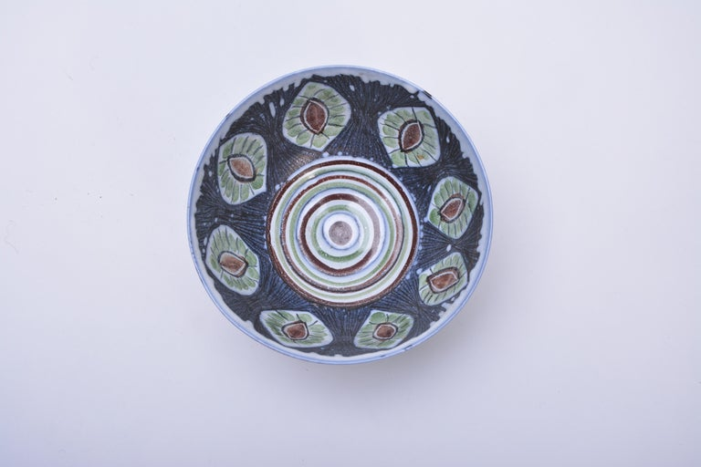 Mid-Century Modern Handmade Swedish Ceramic Bowl by Alingsås Ceramic, 1960s For Sale
