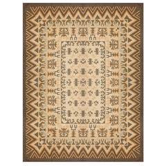 Handmade Swedish Kilim Rug, Traditional Geometric Wool Carpet