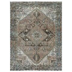 Handmade Tan Color Persian Heriz Natural Wool Vintage Worn Down Rug