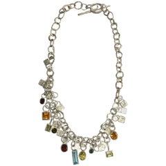 Handmade Textured Silver Multi Gemstone Necklace by Disa Allsopp