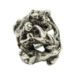 Handmade Three Dimensional Judah and the Lions Sterling Silver Judaica Ring