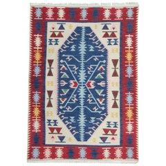 Handmade Traditional Kilim Rug, Blue Oriental Geometric Design