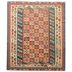 Handmade Traditional Vintage Caucasian Kilim Rug