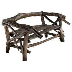 Handmade Tree Branch Garden Bench, France circa 1940.