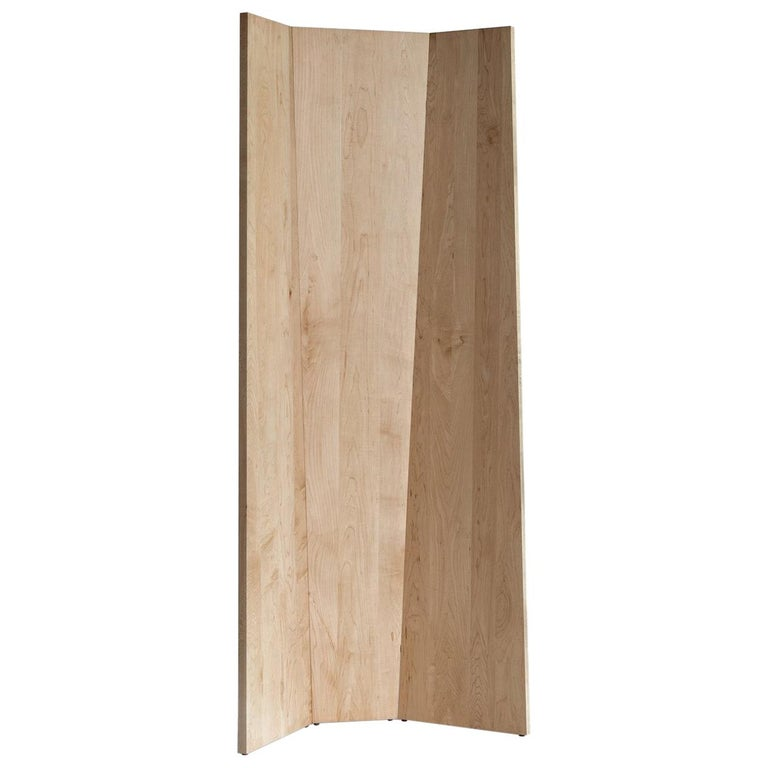 Handmade Tri-Fold Solid Maple Folding Screen or Room Divider For Sale