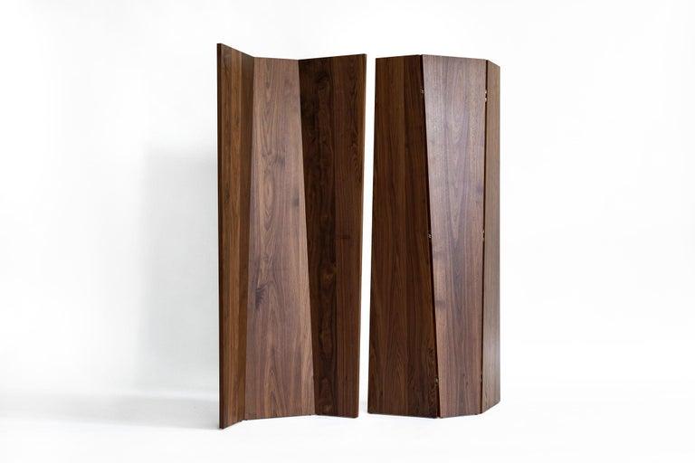 Modern Handmade Tri-Fold Solid Walnut Folding Screen or Room Divider For Sale