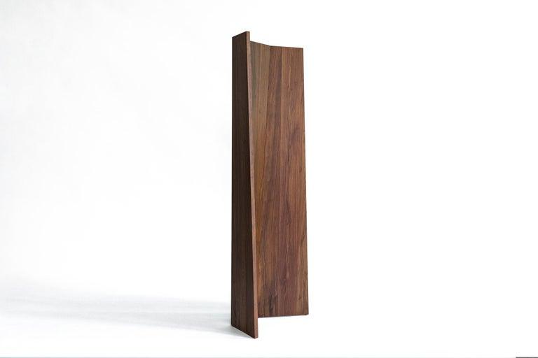 American Handmade Tri-Fold Solid Walnut Folding Screen or Room Divider For Sale