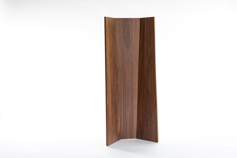 Hand-Crafted Handmade Tri-Fold Solid Walnut Folding Screen or Room Divider For Sale