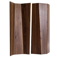 Handmade Tri-Fold Solid Walnut Folding Screen or Room Divider