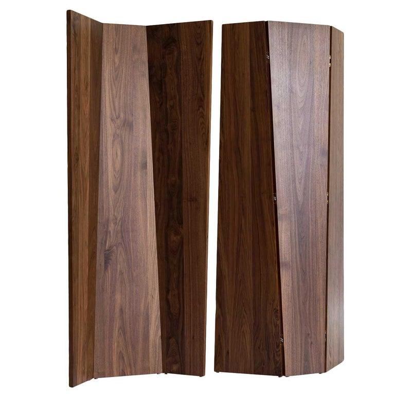 Handmade Tri-Fold Solid Walnut Folding Screen or Room Divider For Sale