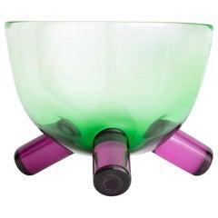 Handmade Tri-Leg Green/Fuchsia Bowl
