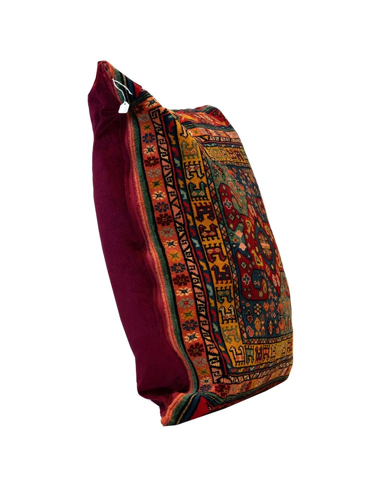 Hand-Knotted Handmade Tribal Pillow Cover, Traditional Pillow Carpet Floor Cushion Cover For Sale