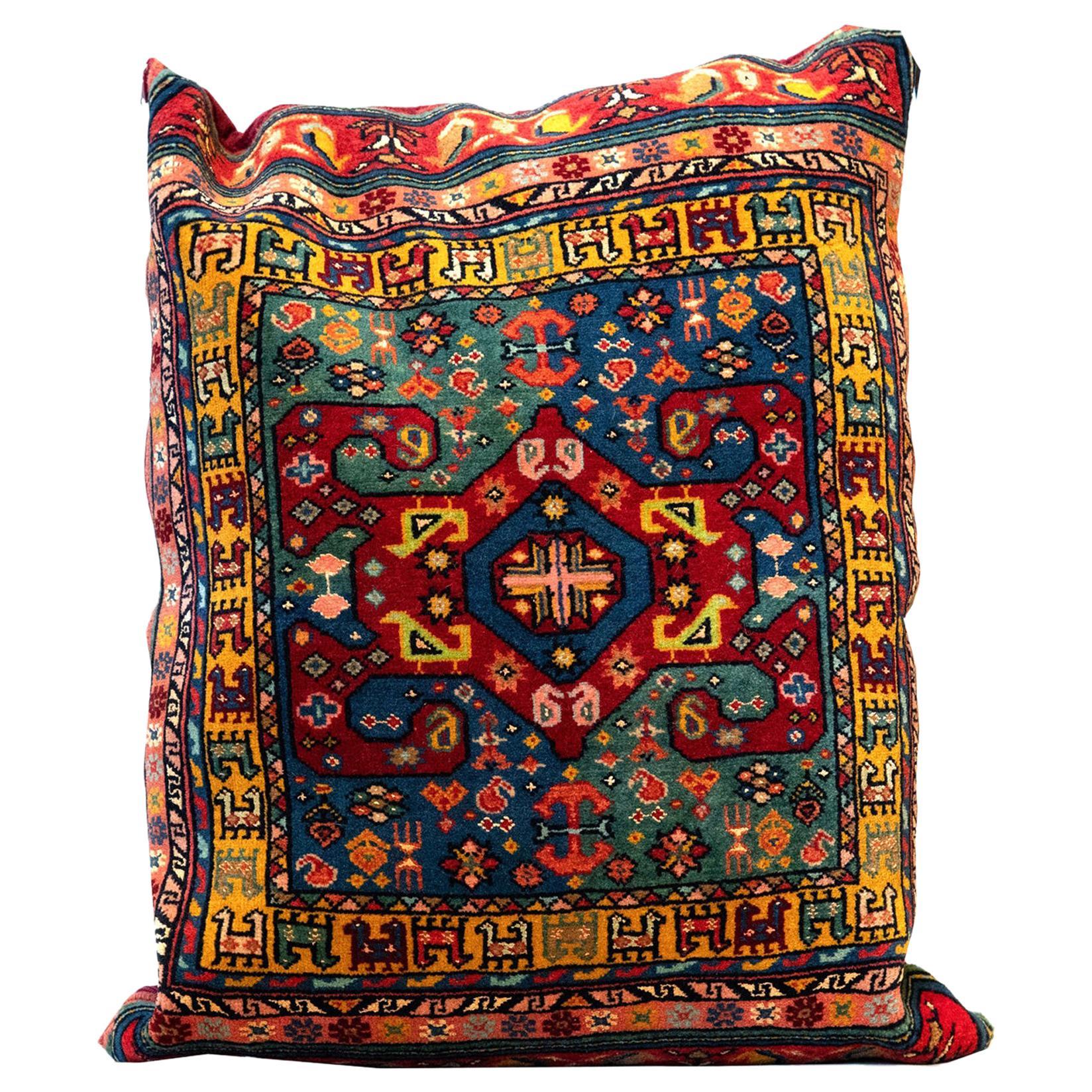 Handmade Tribal Pillow Cover, Traditional Pillow Carpet Floor Cushion