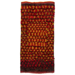 """Handmade """"Tulu"""" Rug with Long Wool Pile in Red, Yellow & Brown Colors"""