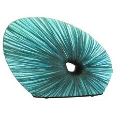 Handmade Turquoise Pleated Silk Doe Table Lamp