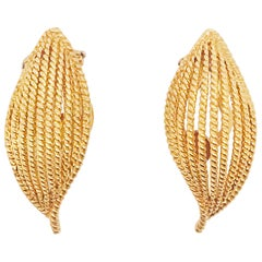 Gold Leaf Earrings, Clip-On, Handmade Twisted, 18K Yellow Gold, circa 1965