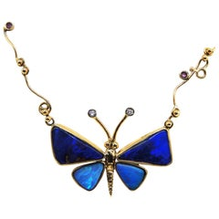 Handmade Unique Australian Black Opal Diamond & Sapphire Butterfly Gold Necklace