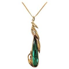 Handmade Unique Green Tourmaline Fancy Pear Teardrop Cut 18 Karat Gold Pendant
