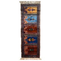 Handmade Uzbek Bukhara Berber Rug, 1970s, 1C636
