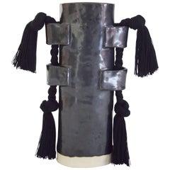 Handmade Vase #504 in Black with Black Cotton Fringe