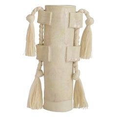 Handmade Vase #504 in Cream with Cream Cotton Fringe