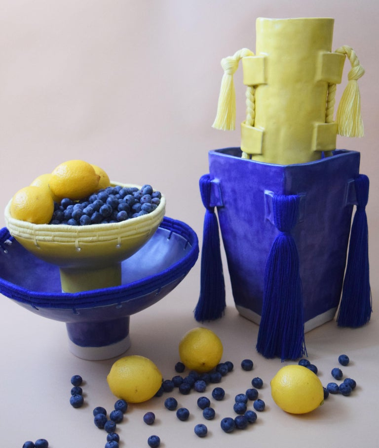 Handmade Vase #504 in Yellow with Yellow Cotton Fringe In New Condition For Sale In Long Beach, CA