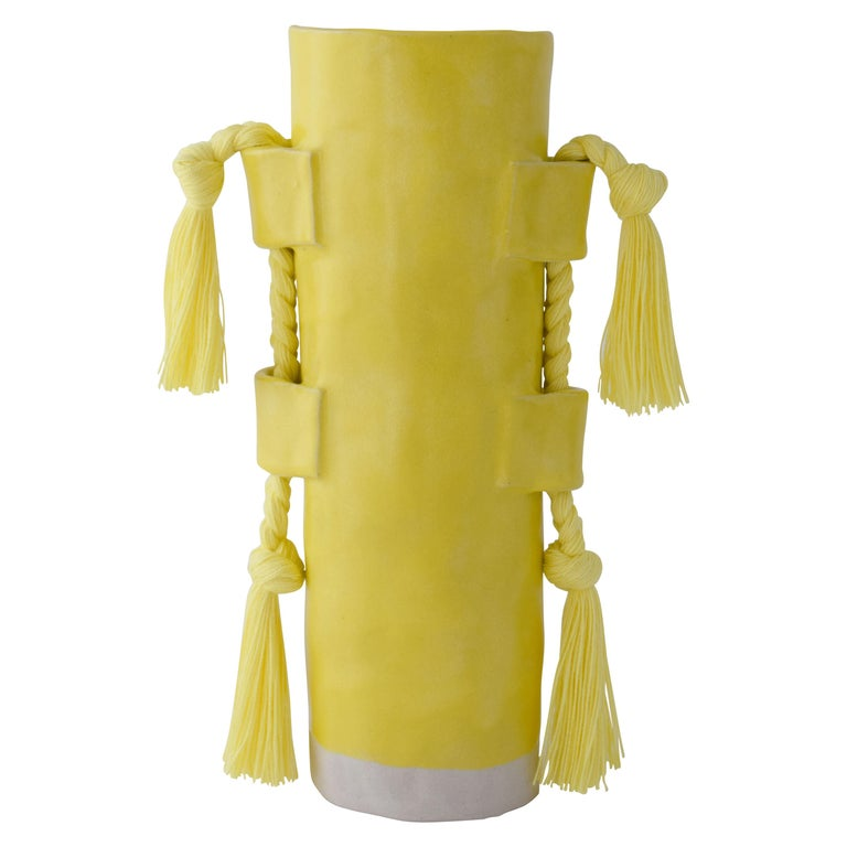 Handmade Vase #504 in Yellow with Yellow Cotton Fringe For Sale