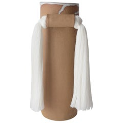 Handmade Vase #531 in Natural with White Tencel Fringe