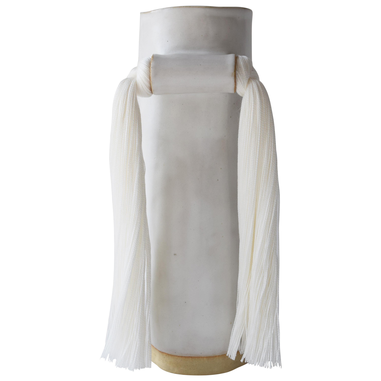 Handmade Vase #531 in White with White Tencel Fringe