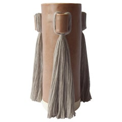 Handmade Vase #607 in Brown with Gray Cotton Fringe