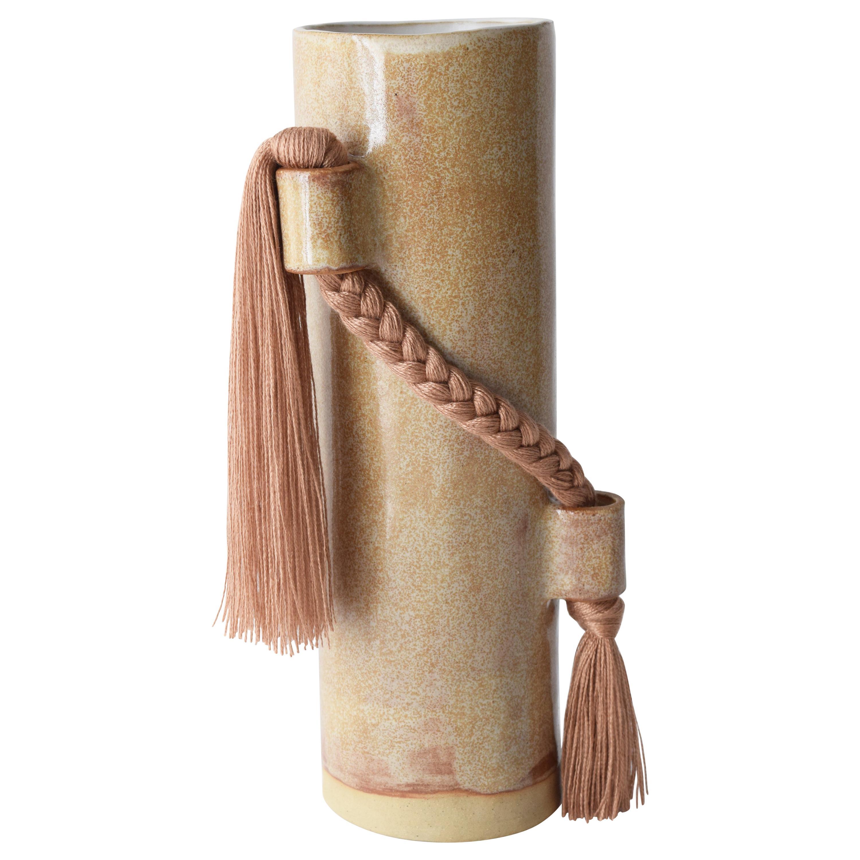 Handmade Vase #695 in Beige with Amber Tencel Fringe