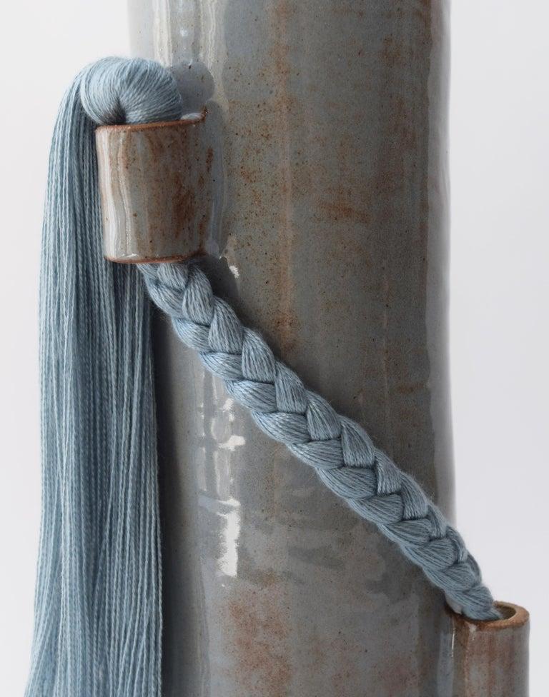 American Handmade Vase #695 in Blue with Blue Tencel Fringe For Sale