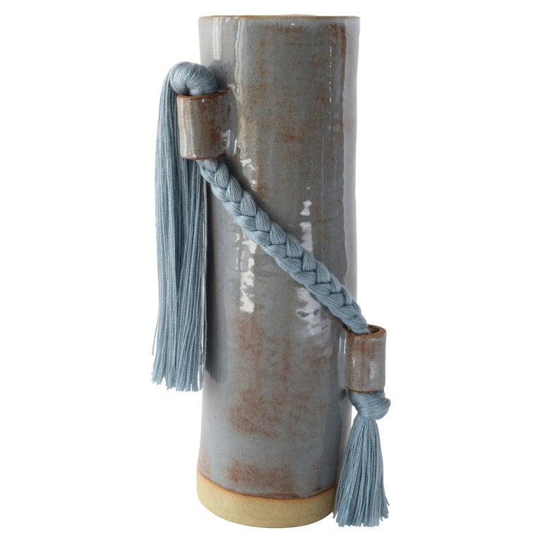 Handmade Vase #695 in Blue with Blue Tencel Fringe For Sale