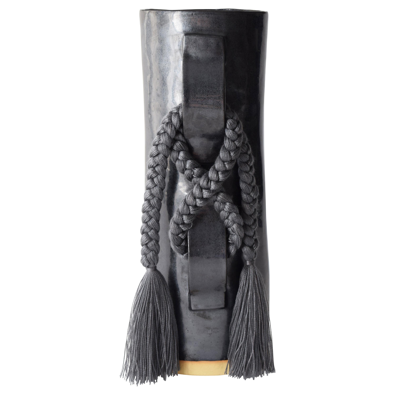Handmade Vase #696 in Black with Charcoal Tencel Fringe
