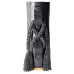 Handmade Vase #696 in Black with Charcoal Tencel Fringe
