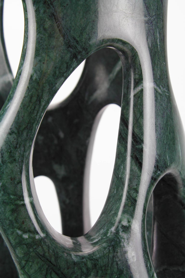 Italian Handmade Vase Sculpture in Solid Imperial Green Marble by Pieruga Marble, Italy