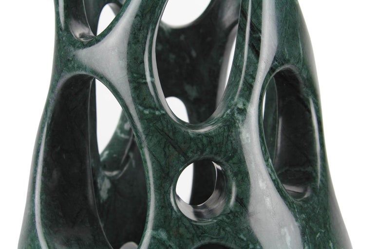 Handmade Vase Sculpture in Solid Imperial Green Marble by Pieruga Marble, Italy In New Condition In Ancona, Marche